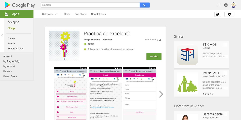 """Aplicație mobilă """"Practică de excelență"""""""
