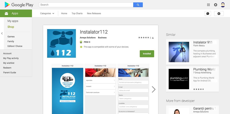 """Aplicație mobilă """"Instalator112"""""""